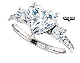 Moissanite Engagement Ring 14 kt White Gold, Trek Quality #1,   Heart Shaped, Three Stone Ring, Side Moissanites #7802