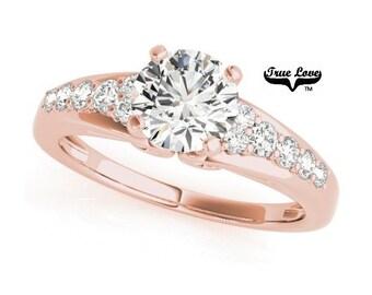 Moissanite Engagement Ring 14kt Rose Gold, Wedding Ring, Side Moissanites, Decorative #7335