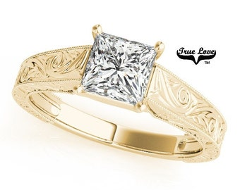 Moissanite Engagement Ring 14kt Yellow Gold, Wedding Ring, Solitaire, Princess Cut, Square Cut #7473