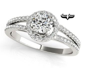 Halo Engagement Ring 14kt White Gold, Trek Quality #1 D-E Color  VVS clarity Round Brilliant Cut 1 Carat Moissanite Wedding Ring #7260