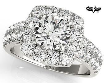 Moissanite Engagement Ring 14kt White Gold, Trek Quality #1, Wedding Ring, Square Halo, Side Moissanites #7163