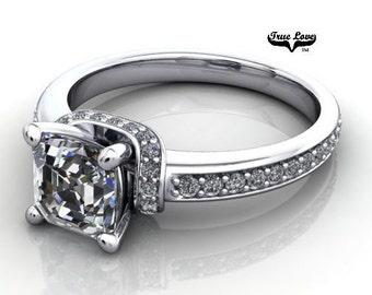 Moissanite Engagement Ring 14kt White Gold, Trek Quality #1, Wedding Ring, Side Moissanites #6888