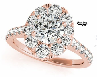 Engagement Ring 14 kt Rose Gold, Trek Quality #1 Moissanite Wedding Ring, Halo, Side moissanites, Round Center Engagement #7222