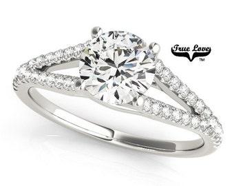 Moissanite Engagement Ring 14kt White Gold, Trek Quality #1, Wedding Ring, Split Shank, Side Moissanites #7460