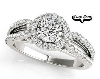 Moissanite Engagement Ring 14kt White Gold,Trek Quality #1 D-E F Color VVS Clarity 6 mm Brilliant Cut, Wedding Ring,, Split Shank  #7266