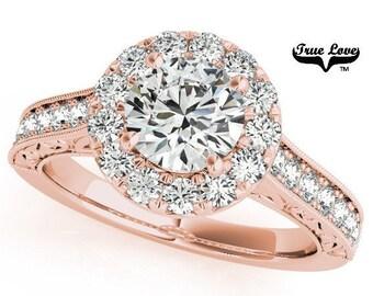 Moissanite Engagement Ring 14kt Rose Gold, Trek Quality #1, Wedding Ring, Side Moissanites, Halo  #7194