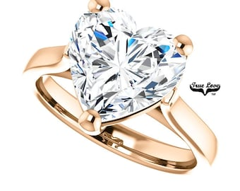 Moissanite Engagement Ring .80,1.20,1.80,2.70,or 3.70 Carat Heart Cut Solitaire 14 kt Rose Gold #6824