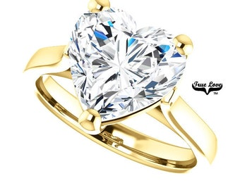 Moissanite Engagement Ring .80,1.20,1.80,2.70,or 3.70 Carat Heart Cut Solitaire 14 kt Yellow Gold#6823