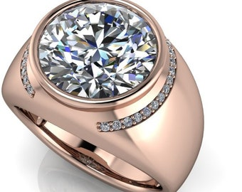 Lay Away Payment  1 of 6 14 kt  Rose gold 6 carat Trek Quality Number1 DE colorless Moissanite Gents Ring