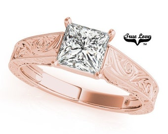Moissanite Engagement Ring 14kt Rose Gold, Forever One, Wedding Ring, Princess, Square Cut, Solitaire, Decorative #7474