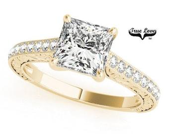 Moissanite Engagement Ring 14kt Yellow Gold, Wedding Ring,  Side Moissanites, Square Cut, Princess Cut #7467