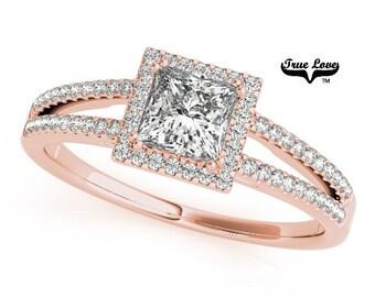 Halo Engagement Ring 14kt Rose Gold,1.05 Trek Quality #1 D-E Color  VVS clarity Princess Cut MoissaniteSplit Shank Wedding Ring.   #7259