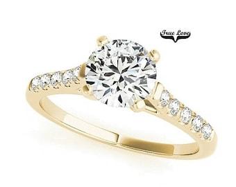 Moissanite Engagement Ring 14kt Yellow Gold #7349