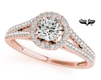 Moissanite Engagement Ring 14kt Rose Gold, Trek Quality #1 D-E Color , 1 carat center, Wedding Ring, Halo Engagement, Split Shank   #7253