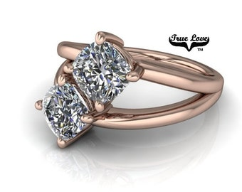 NEW! Two Stone 14  kt. Rose Gold  6 mm 2.10 Carat Total weight Cushion Cut Trek Quality #1 Moissanite Engagement Ring #7760