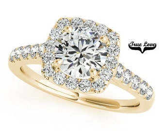 Moissanite Engagement Ring 14kt Yellow Gold,Trek Quality #1 VVS Clarity D-E Color , Wedding Ring, Halo Engagement  #7276
