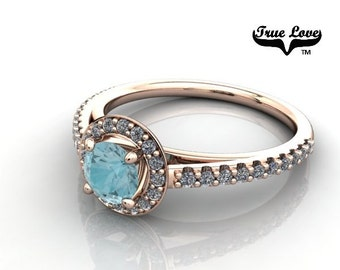 14 kt. Rose Gold True Love  Round Cut Blue Zircon with Halo and side stones  Engagement Ring. #7121