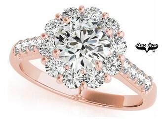 Moissanite Trek Quality #1 Round Halo Engagement Ring 14kt Rose Gold, Wedding Ring,  Side moissanites  #7225