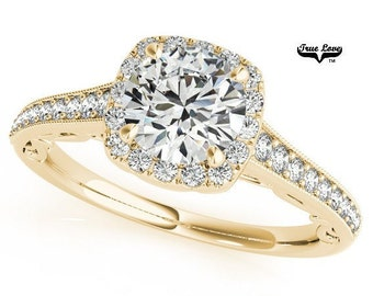 Moissanite Engagement Ring 14kt Yellow Gold #7202