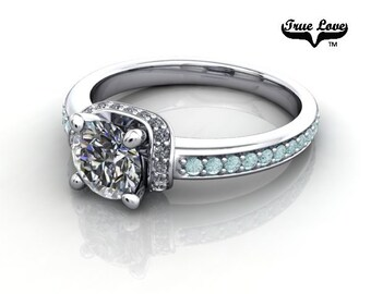 14 kt. White Gold .68 Carat Round Brilliant Cut Forever Brilliant  Moissanite  Exquisite Engagement Ring. #6746