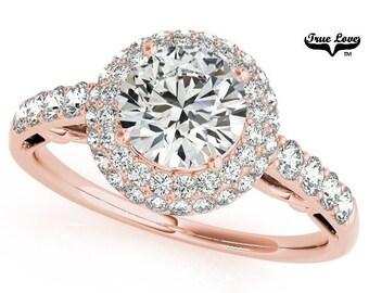 Moissanite Engagement Ring 14kt Rose Gold, Trek Quality #1, Wedding Ring, Side Moissanites, Pave Set Halo  #7188