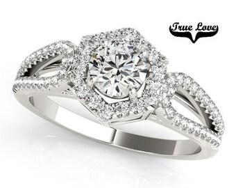 Halo Engagement Ring 14kt White Gold, Trek Quality #1 D-E Color  VVS clarity Round Brilliant Cut 1 Carat Moissanite Wedding Ring  #7269