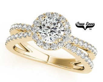 Moissanite Engagement Ring ,Trek Quality #1 D-E Color  VVS Clarity,one Carat Center Halo and side Stones 14kt Yellow Gold Split Shank #7237