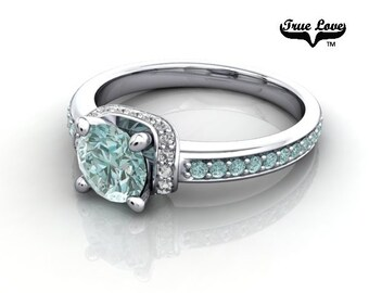 14 kt.  Gold .80 Carat Round Brilliant Cut Teal Blue Diamond,  Exquisite Engagement Ring. #6749