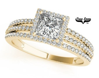 Princess Cut Moissanite Engagement Ring 14kt Yellow Gold,1.05 Trek Quality #1 D-E Color  VVS clarity Wedding Ring, Halo Engagement  #7255