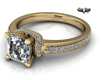Moissanite Engagement Ring 14kt Yellow Gold #6889