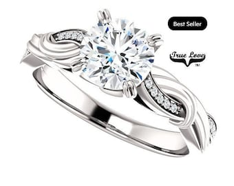 Moissanite Engagement Ring 14kt White Gold, Trek Quality #1, Wedding Ring, Twist Style  #8173