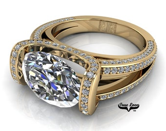 Moissanite Trek Quality #1 D-E Colorless or G-H near Colorless VVS Clarity True Love Eng. Ring 14 kt Yellow Gold.#6835