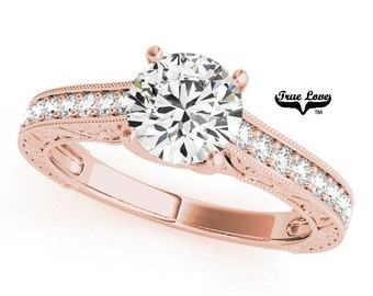 Moissanite Engagement Ring 14kt Rose Gold, Trek Quality #1, Wedding Ring, Side Moissanites #7465