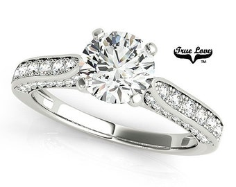 Moissanite Engagement Ring 14kt White Gold, Trek Quality #1, Wedding Ring #7430