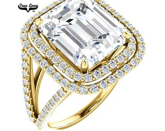 Emerald Cut Moissanite Engagement Ring 14 kt Yellow gold #7099