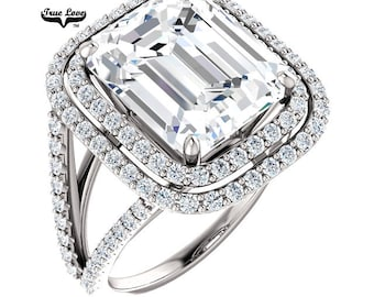 Emerald Cut Moissanite Engagement Ring Platinum #7098P