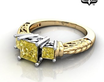 Princess Cut 14 kt. Two Tone White and Yellow Gold  Three Stone.38 Carat and Two .12 Fancy Yellow Diamond Engagement Ring. #6714
