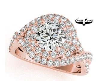 Moissanite Engagement Ring 14kt Rose Gold, Trek Quality #1, Wedding Ring, Halo Swirl, Side Moissanites #7292