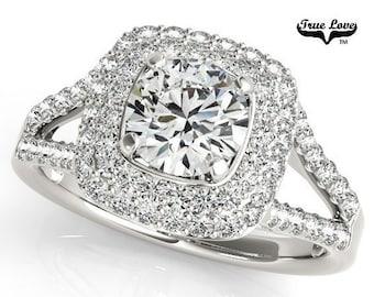 2 Carat Moissanite Engagement Ring 14kt White Gold, Trek Quality #1, Wedding Ring #7166