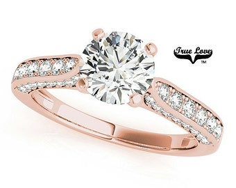 Moissanite Engagement Ring 14kt Rose Gold, Trek Quality #1, Wedding Ring, Side moissanites #7432