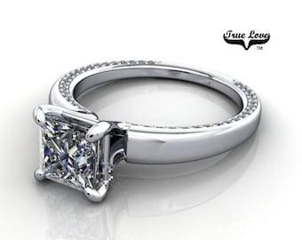 Moissanite Engagement Ring 14kt White Gold, Trek Quality #1, Wedding Ring, Solitaire Engagement #6778