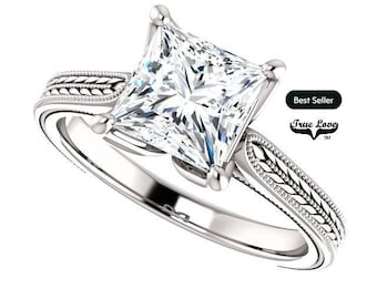 Solitaire Moissanite Trek Quality Engagement Ring Princess cut  6.5 mm 1.75 Carat 14kt  Gold, Trek Quality, Wedding Ring, Square  #8218