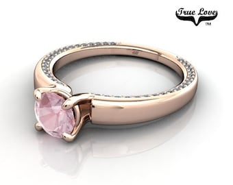 14 kt. Rose Gold True Love Round Pink Morganite with Accented Moissanites  Engagement Ring. #6706