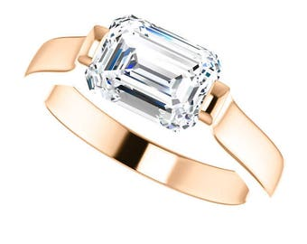 Brand True love Trek Quality #1 Moissanite Emerald  cut 8x6mm 1.80 Carat G-H Color  Engagement Ring 14kt Rose Gold, Solitaire #7785b