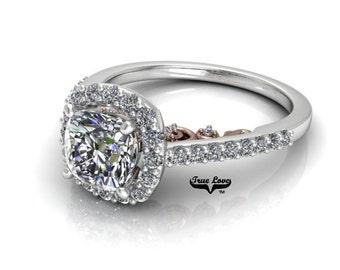 Moissanite Engagement Ring 14kt White Gold, Trek Quality #1, Wedding Ring, Halo, Side Moissanites #7910