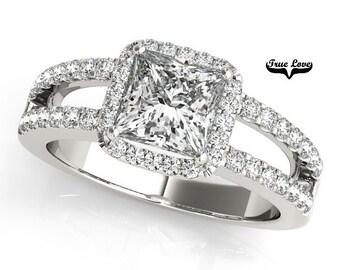 1.35 Carat Princess cut Moissanite Trek Quality #1 Brand True Love Engagement Ring 14kt White Gold, Halo Ring, Split Shank  #7306