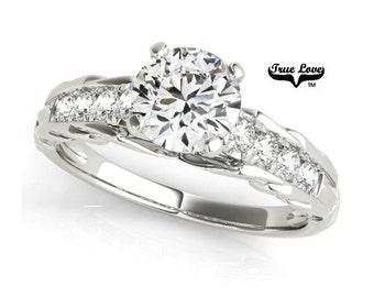 1 Carat Moissanite Engagement Ring 14kt White Gold, Trek Quality #1, Wedding Ring,Round Engagement,Side Moissanites #7315