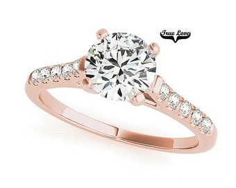 Moissanite Engagement Ring 14kt Rose Gold, Trek Quality #1, Wedding Ring, Side Moissanites #7350