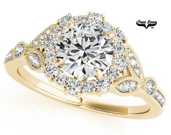 Moissanite Engagement Ring 14kt Yellow Gold #7199