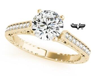Moissanite Engagement Ring 14kt Yellow Gold, Wedding Ring, Side Moissanites #7530